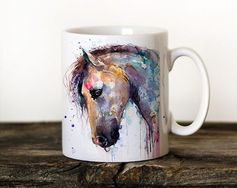 Horse Mug Watercolor Ceramic Mug Unique Gift Coffee Mug Animal Mug Tea Cup Art Illustration Cool Kitchen Art Printed mug bird