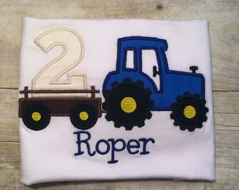 "Personalized ""2 is for Tractors"" Bodysuit or T-shirt - Embroidery - Birthday - Party - Celebrate - Gift - Photo Shoot - Boys - Cake Smash"