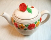 Vintage Tea Pot Flowers Ribbed Made in Japan Cute Collectible Tea Party Display Decor