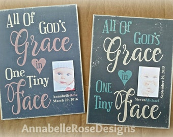 Personalized Baby Name Wall Art with YOUR photograph & birthdate / All of God's Grace... / Vintage Look / Baby shower gift - Baby room decor
