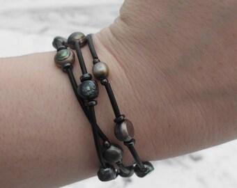 Freshwater Pearl wrap bracelet/multi colored freshwater pearls/hematite spacers/toggle clasp/boho chic/bohemian/organic/rustic/feminine