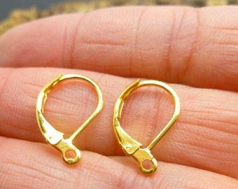 50 pcs Gold Leverback Earwires -  Earrings Findings -Gold Plate Ear Hooks - Jewelry Making lot -EF060