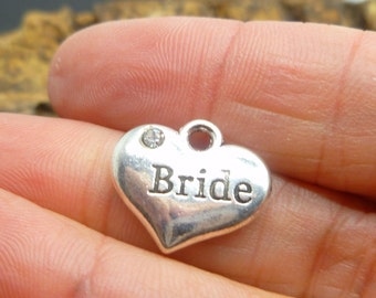 4 Bride Charms - Antique Silver Wedding Charms -  Jewelry Making or Scrapbooking Supplies -MC0820