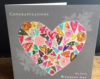 Wedding heart-Greeting Card- handfinished