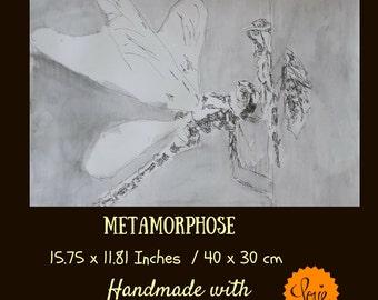 Dragonfly art : Metamorphosis, Dragonfly decor, dragonfly decoration, dragonfly, dragonfly wall art, dragonfly art