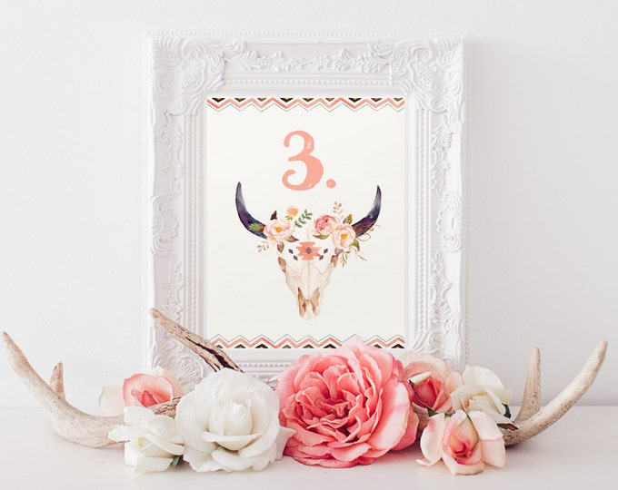 Printable Wedding Table Numbers, Bohemian Floral Bullhead Watercolor, Rustic Wedding, Table Number Signs, DIY Printable, Feathers