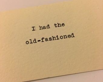 """Calling Cards (""""I had the old-fashioned"""") printed by typewriter, one dozen"""