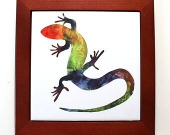 Lizard Framed Tile Trivet Watercolor Art