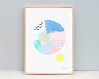 Cirlce Art Print, Modern Abstract Painting, Pink Abstract Art, Pink and Blue Art, Abstract Painting, Pastel Colour Art, Pink Art