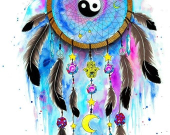 Ying and yang dreamcatcher galaxy- signed Art Print