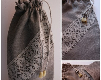 Linen Gift Bag for a Bottle - Bottle Gift Wrapping with Linen Lace - Linen Gift Bag with a rope to tie up