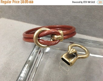 On Sale NOW 25%OFF Antique Brass - Open Hook All in One Clasp - For Use With Round Leather Cord Up To 5mm - C257 - Qty 2
