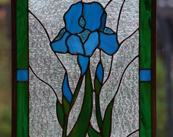 "Iris Stained Glass Window, Blue Iris Traditional Stained Glass Window Panel, Classic, Handmade, Original Design, 22 1/4"" x 14 1/4""."
