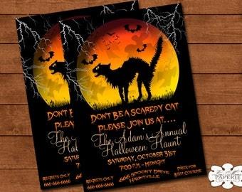 halloween invitation, handmade digital invite, halloween party scaredy cat invitation, halloween party invite - Digital File - DIY PRINTABLE