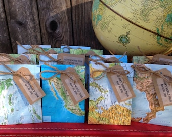 12 World Map Favor Bags