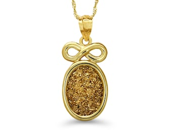 "14k solid gold drusy stone infinity pendant with 18"" gold chain. drusy stone necklace."