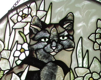 "Cat suncatcher (6.5"" round)"
