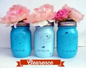 Set of Three Blue and Turquoise Ball Mason Jars : Caribbean Turquoise and Light Blue