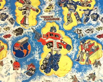 Vintage 1984 Transformers Robots Cartoon Flat Fabric Twin Bed Sheet for Repurpose or Reuse (1 Flat Sheet that has been cut)