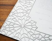 "The ""Geometric"" Papercut Ketubah (Shown in Silver) 14""x18"""
