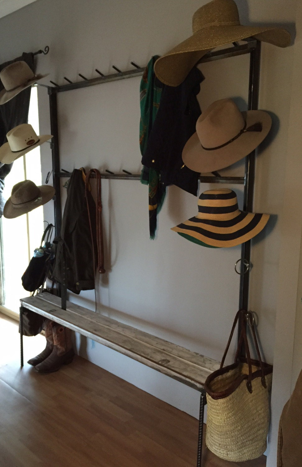 Country Style Coat Hat Rack With Bench