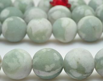 47 pcs of Peace green Jasper matte Round beads in 8mm