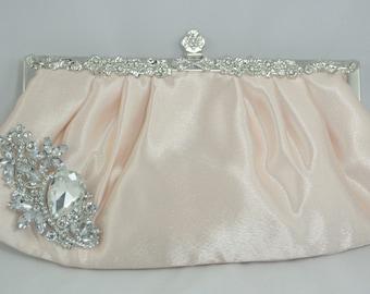 Blush Bridal Clutch, Blush Pink Wedding Clutch, Wedding Handbag, Swarovski 1920s Clutch, Bridal Handbag, Formal Clutch Blush Wedding Purse