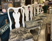 Shabby Chic Peacok White Painted Dining Chairs Kitchen Chair Vintage Chalk Paint