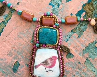 Pink bird necklace