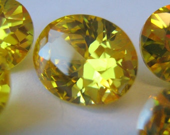 Five Yellow Cubic Zirconia oval cut 8mm x 10mm approx 4.5 cts each gemstone