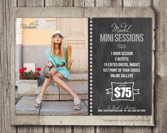 Model Photo Session Photography 5x7 Marketing Board - INSTANT DOWNLOAD - Newsletter Blog Board - Model Modeling Mini Session Photo Shoot