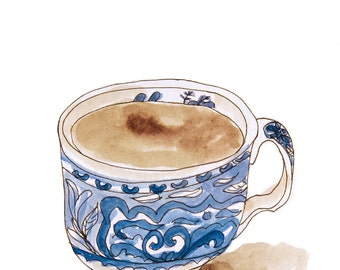 "Digital print of a drawing ""blue cup"", 10 x 15 cm"
