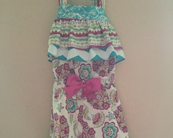 Little Girls Ruffle Romper with Matching Bow