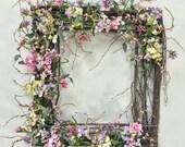 ON SALE Spring Wreath, Hydrangea Wreath, Pastel Wreath, Square Wreath, Wispy Wreath, Cottage Wreath, Shabby Chic, Twig Wreath, Wedding Wreat