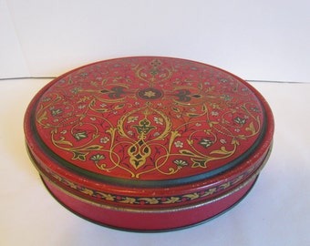 Vintage Red And Gold Round Metal Tin  Candy Cookie Tin Decor