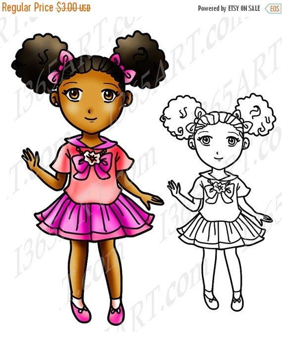 50 OFF SALE African American Girl Clipart Black Girl Afro Puffs Digital Stamp Clip Art