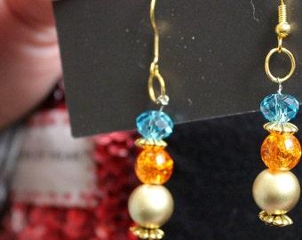 Festival boho bohemian indie orange blue gold earrings