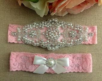 Wedding Garter - Bridal Garter - Pink Lace Garter - Pearl and Crystal Rhinestone Garter and Toss Garter Set