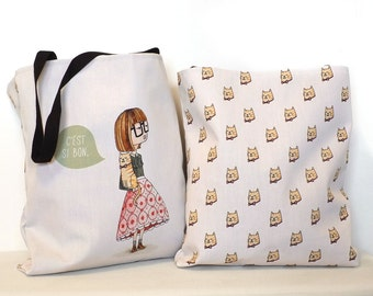 Canvas tote bag, cat pattern, french quote - C'est si bon