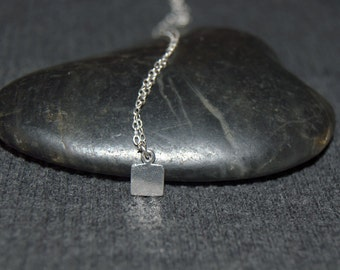 tiny square necklace, tiny geometric necklace, sterling silver dainty necklace, simple minimalist necklace, layering necklace