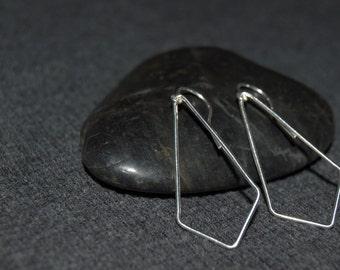 silver dangle geometric earrings, sterling silver teardrop earrings, simple minimalist jewelry, dangle triangle earrings