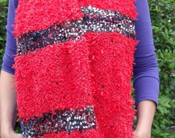 Stola/wide scarf in red with confetti courses (150/35 cm)