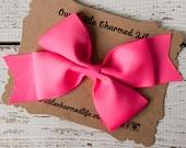 Neon Pink Hair Bow, Neon Pink Hairbow, Neon Pink Hair Clip, 5 Inch Hair Bow, Toddler Hair Bow, Bright Pink Hair Bow, Girls Hair Bow