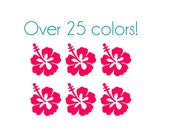 Hibiscus Flower Nail Decals - Vinyl, Custom Color Choice
