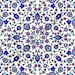 IO012C - Gloss Ceramic Tiles - Arabesque Pattern in Blue and White - Various Sizes