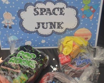Space Junk Birthday Party Food Label Sign