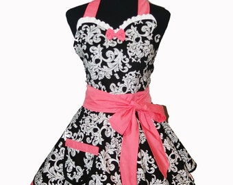Retro Sweetheart Apron in Damask Print with Coral Trim
