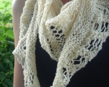 Handknitted triangle scarf, womens hand knitted lightweight scarf, bridal accessory, cream lace scarf, roadtrip scarf, boho scarf