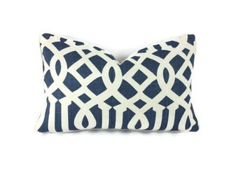 """12. 5"""" x 20 Schumacher Imperial Trellis II in Ivory and Navy Lumbar Pillow Cover"""