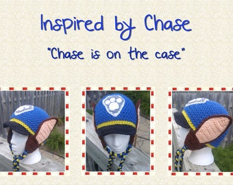 Crochet earflap hat inspired by Chase - Paw Patrol